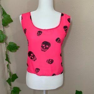 Ali Kris Skull Hot Pink High Low Sheer Tank Top